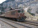 BLS Re 4/4 161 mit Autoshuttle von Goppenstein einfahrend in Kandersteg