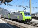 BLS Cargo Re 485 003 in DT vor einem Rolazug nach Italien in Frutigen einfahrend
