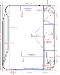 Plan der Modellbahn im Hobbyraum